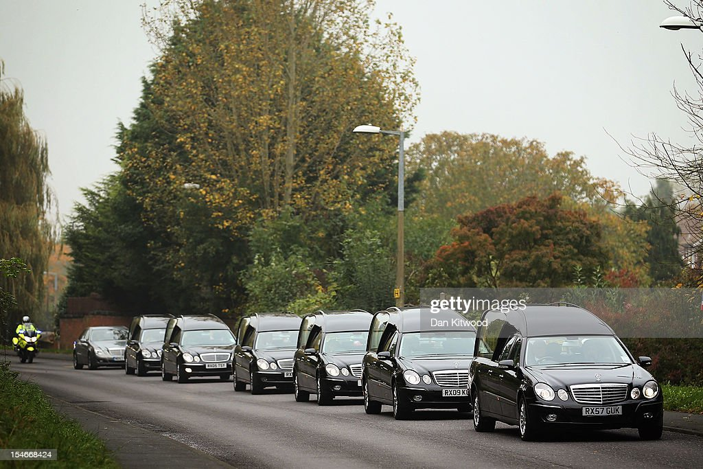 The funeral cortege of Sabah Usmani and her five children, who were killed in a house fire, arrives for a service of prayer at the Harlow Islamic Centre on October 24, 2012 in Harlow, England. Dr Sabah Usmani and her sons Sohaib, 11, and Rayyan, 6, and daughter Hira, 13, died in a house fire in Harlow on October 15. Her other son, Muneeb, 9, and daughter Maheen, 3, both died later in hospital. Her husband, who was released from hospital last week, lead the funeral at Harlow Islamic Centre, which was attended by some 200 mourners.