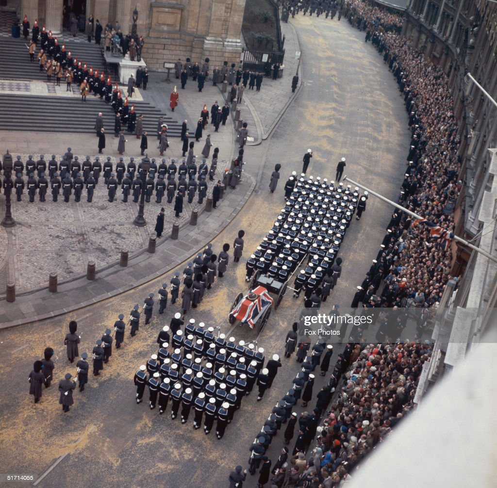 The funeral cortege of Sir Winston Churchill arrives with his coffin at St Paul's Cathedral during his state funeral 30th January 1965