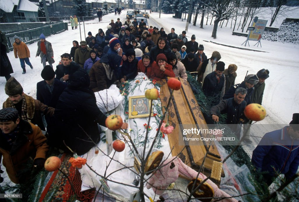 The funeral of a man killed in Predeal, during the Romanian Revolution, 1989.