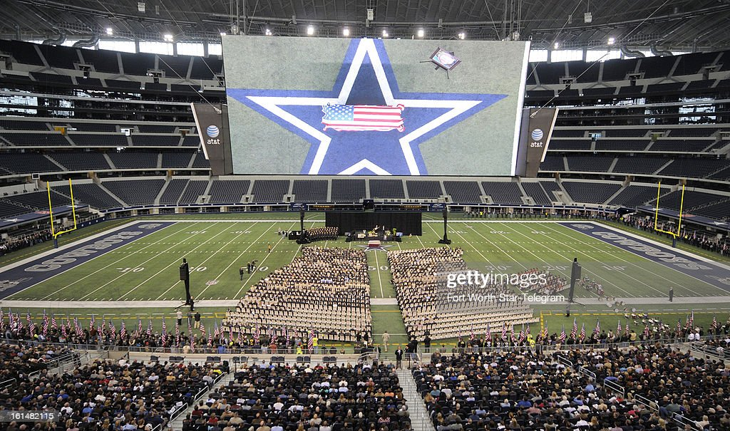 The funeral of Chris Kyle was held at Cowboys Stadium in Arlington, Texas, Monday, February 11, 2013. Kyle was a highly decorated former Navy SEAL sniper who was shot and killed at a shooting range last week.