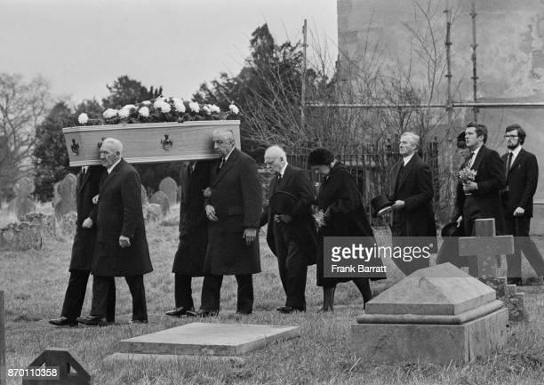 The funeral of crime writer Agatha Christie at Cholsey Parish Church near Wallingford Berkshire UK 16th January 1976 Christie's husband Max Mallowan...