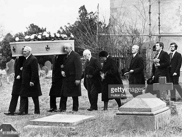 The Funeral of Dame Agatha Christie the detective novelist at Cholsey Parish Church Berkshire Her Coffin is followed by her husband Max Mallowan her...