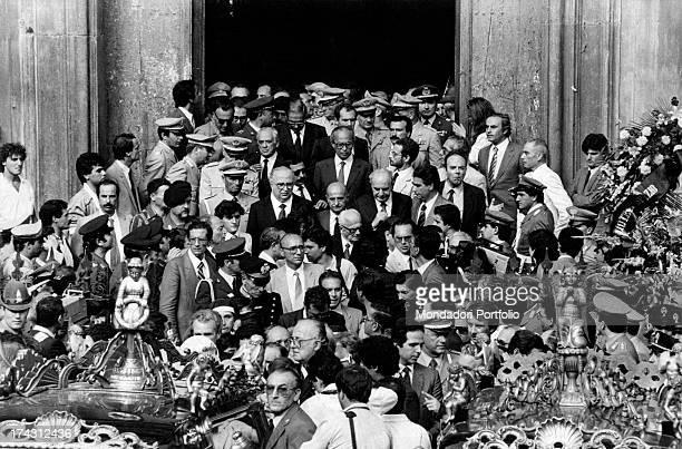 The funeral of Italian general and Prefect Carlo Alberto Dalla Chiesa and his wife Emanuela Setti Carraro Palermo 4th September 1982
