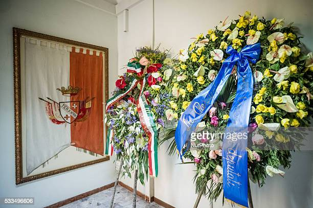 The funeral of Marco Pannella political leader of Radical Party in Italy in the burial chamber on city hall of Teramo City on May 22 2016