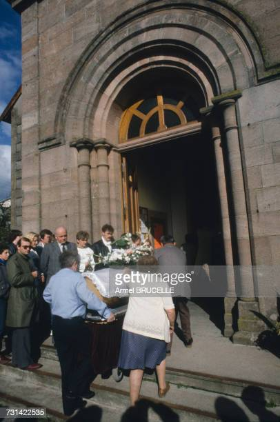 The funeral of murdered four yearold boy Grégory Villemin takes place in Lepanges Sur Vologne Vosges France 19th October 1984