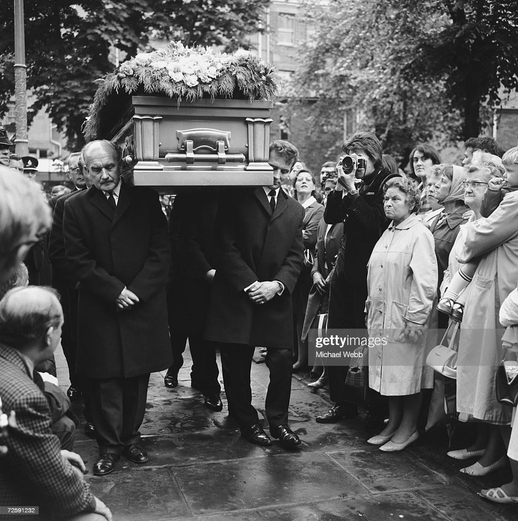 The funeral of Rolling Stones guitarist Brian Jones at St Mary's Parish Church Cheltenham 10th July 1969