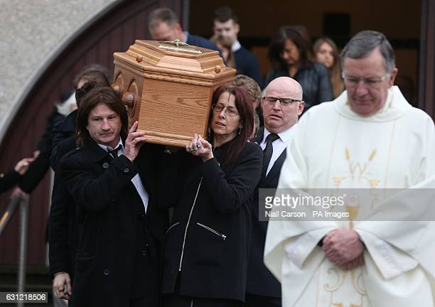 The funeral of Therese MacGowan the mother of singer Shane MacGowan at Our Lady of Lourdes Church Silvermines Co Tipperary