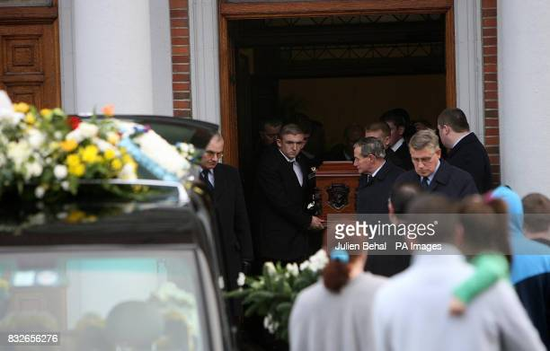 The funeral party and coffin of the murdered infamous Irish crime boss Martin 'Marlo' Hyland leaves Christ The King Church in Cabra Dublin