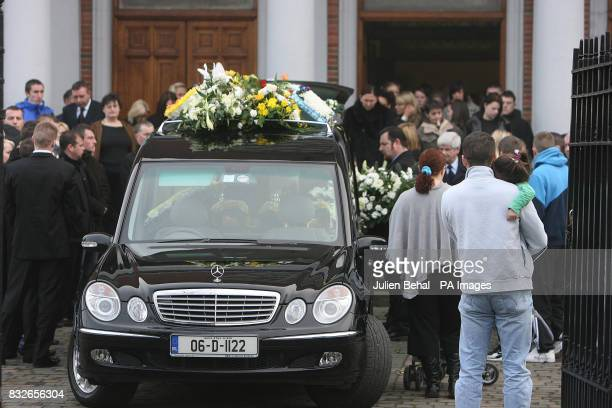The funeral party and coffin of the murdered infamous Irish crime boss Martin 'Marlo' Hyland leave Christ The King Church in Cabra Dublin