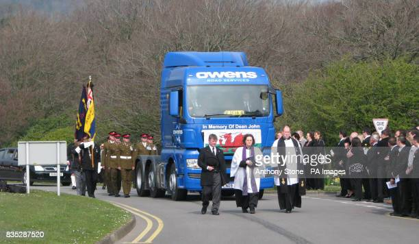 The funeral procession of Corporal Dean John is at his funeral service in Margam Crematorium Port Talbot South Wales