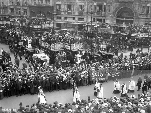 The funeral procession of Emily Wilding Davison after she was killed by throwing herself under King George V's horse at the Epsom Derby
