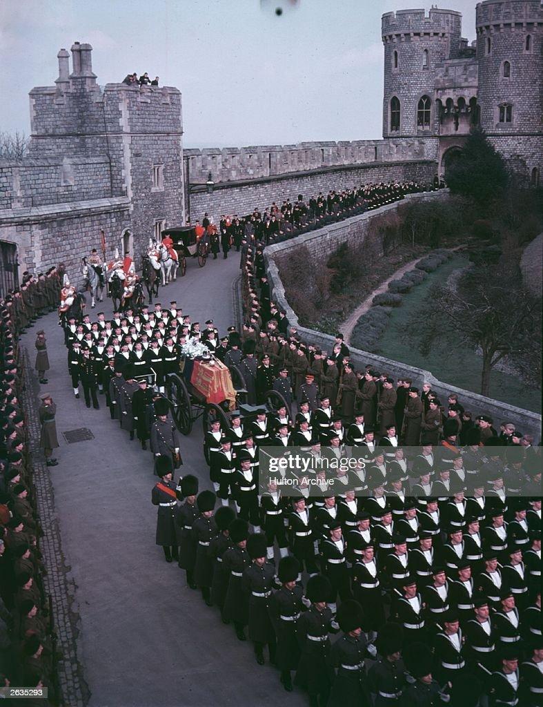 The funeral procession of King George VI arrives at Windsor Castle Berkshire