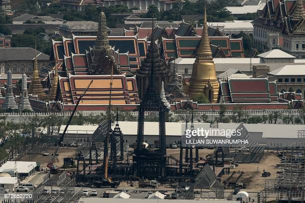 The funeral pyre and surrounding pavilions for the late Thai King Bhumibol Adulyadej is seen under construction inside Sanam Luang park in front of...