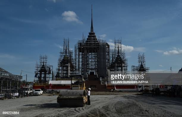 The funeral pyre and surrounding pavilions for the late Thai King Bhumibol Adulyadej is under construction inside Sanam Luang park in front of the...