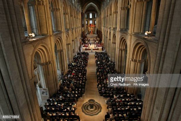 The funeral service of The Bishop of Peterborough The Right Reverend Ian Cundy at Peterborough Cathedral Peterborough Cambridgeshire
