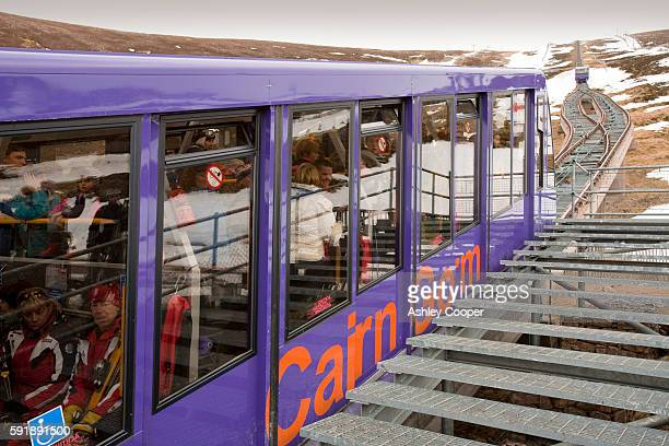 The funicular on the Cairngorm  ski resort in Scotland UK
