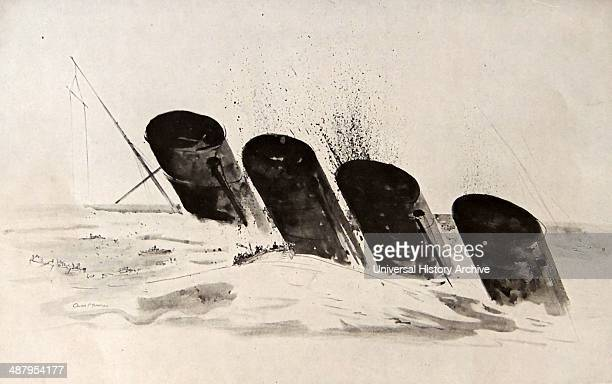 The funnels of the Lusitania as she sinks below the surface of the sea RMS Lusitania was a British ocean liner holder of the Blue Riband and briefly...