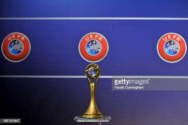 The Futsal Cup trophy is displayed prior to the UEFA Futsal Cup 2013/14 Finals Elite Round draw at the UEFA headquarters The House of European...
