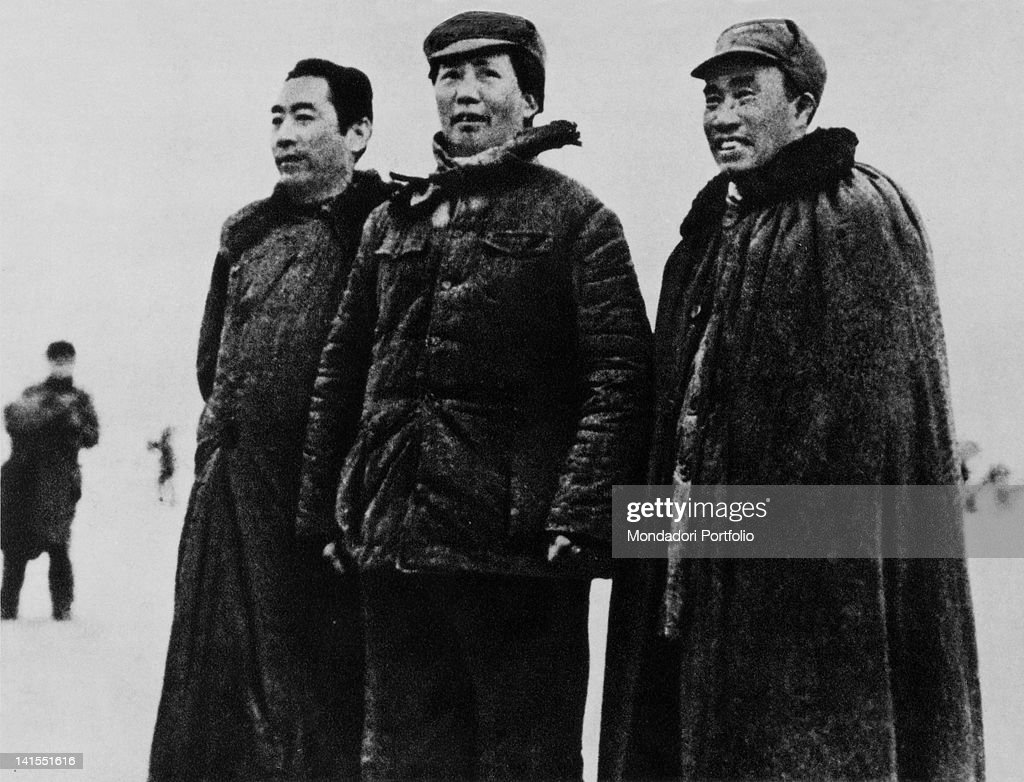 The future dictator and leader of the Chinese Communist Party Mao Zedong leading the Communists on the Long March with political commissioner Zhou Enlai and commander in chief of the People's Liberation Army Zhu De at his side. Jiangxi, 1935