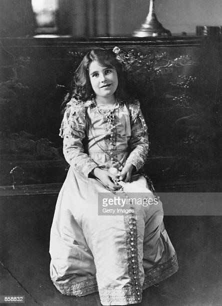 The future Queen Elizabeth Lady Elizabeth BowesLyon poses in 1909 at Glamis Castle her childhood home in Angus Scotland The Queen Mother the daughter...