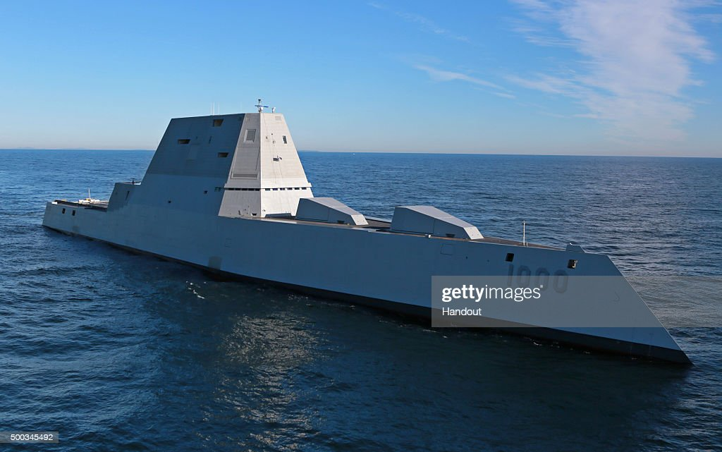 The future USS Zumwalt is underway for the first time conducting atsea tests and trials on the Kennebeck River December 7 2016 in the Atlantic...