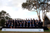 The G20 Finance Ministers and Central Bank Governors sit for a official group photo on February 22 2014 in Sydney Australia This event is the first...