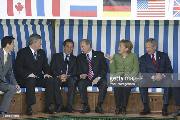 The G8 Heads of States are posing for a family photo in a huge deckchair In Heiligendamm Germany On June 07 2007Japan Prime Minister Shinzo Abe...