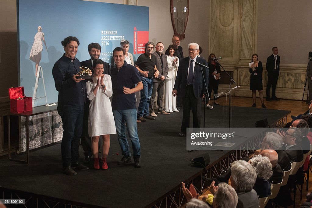 The Gabinete de Arquitectura (Paraguay) receives the Golden Lion for the best participant to 15. Show REPORTING FROM THE FRONT at the official opening ceremony of the 15th Biennale of Architecture on May 28, 2016 in Venice, Italy. The 15th International Architecture Exhibition of La Biennale di Venezia will be open to the public from May 28 to November 27 in Venice, Italy.