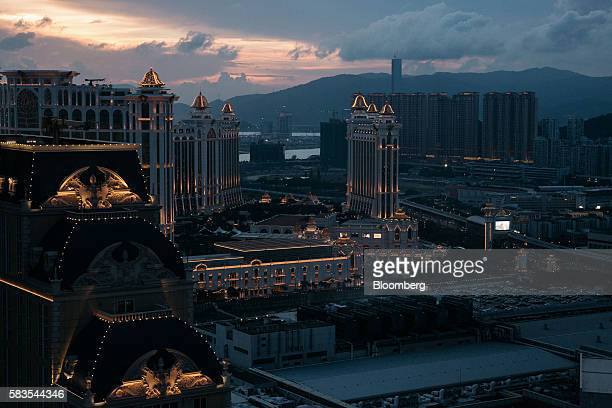 The Galaxy Macau casino and hotel operated by Galaxy Entertainment Group Ltd is seen from the Parisian's Eiffel Tower attraction in Macau China on...