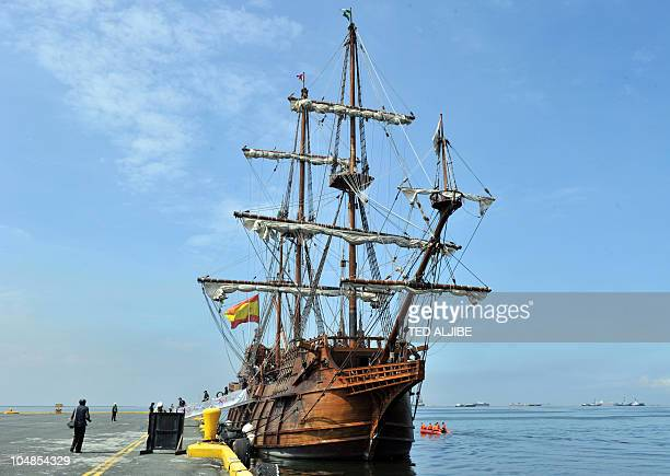 The Galeon Andalucia a 17th century replica of the galleon sits anchored at the international port of Manila on October 6 2010 The Galeon Andalucia...
