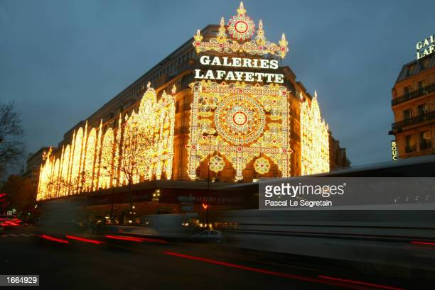 The Galeries Lafayette store lights up in preparations for the upcoming Christmas holiday season November 28 2002 in Paris