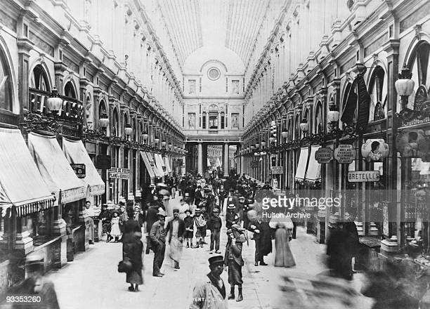The Galeries Royales SaintHubert a shopping arcade in Brussels circa 1890