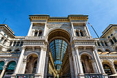 MILAN, ITALY - MAY 15, 2017: The Galleria Vittorio Emanuele II on the Piazza del Duomo (Cathedral Square). This gallery is one of the world's oldest shopping malls and tourist attraction of Milan.