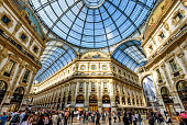 MILAN, ITALY - MAY 16, 2017: The Galleria Vittorio Emanuele II on the Piazza del Duomo in central Milan. This gallery is one of the world's oldest shopping malls.