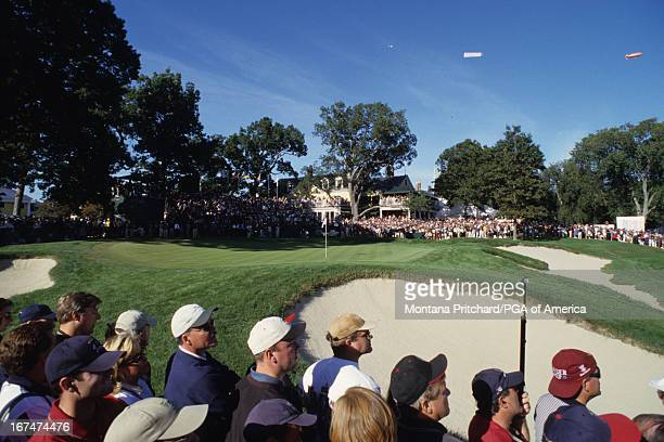 The gallery at the 33rd Ryder Cup Matches held at The Country Club in Brookline Massachusetts Sunday September 26 1999