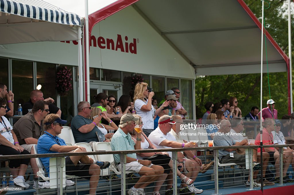 The gallery in the KitchenAid hospitality during the third round for the 77th Senior PGA Championship presented by KitchenAid held at Harbor Shores Golf Club on May 28, 2016 in Benton Harbor, Michigan.