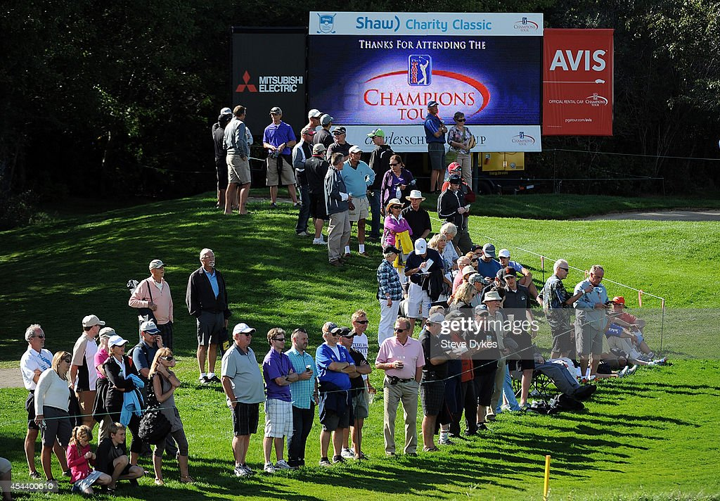 The gallery lines the fairway on the 18th hole during the second round of the Shaw Charity Classic at the Canyon Meadows Golf and Country Club on August 30, 2014 in Calgary, Canada.