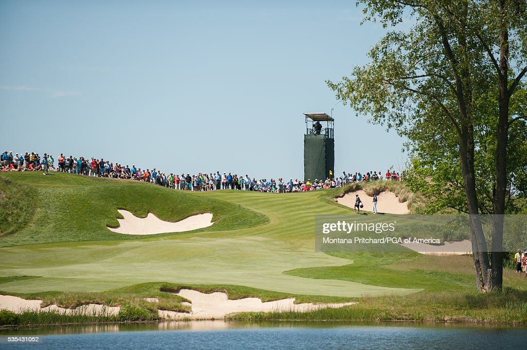 The gallery on the seventh hole during the final round for the 77th Senior PGA Championship presented by KitchenAid held at Harbor Shores Golf Club on May 29, 2016 in Benton Harbor, Michigan.