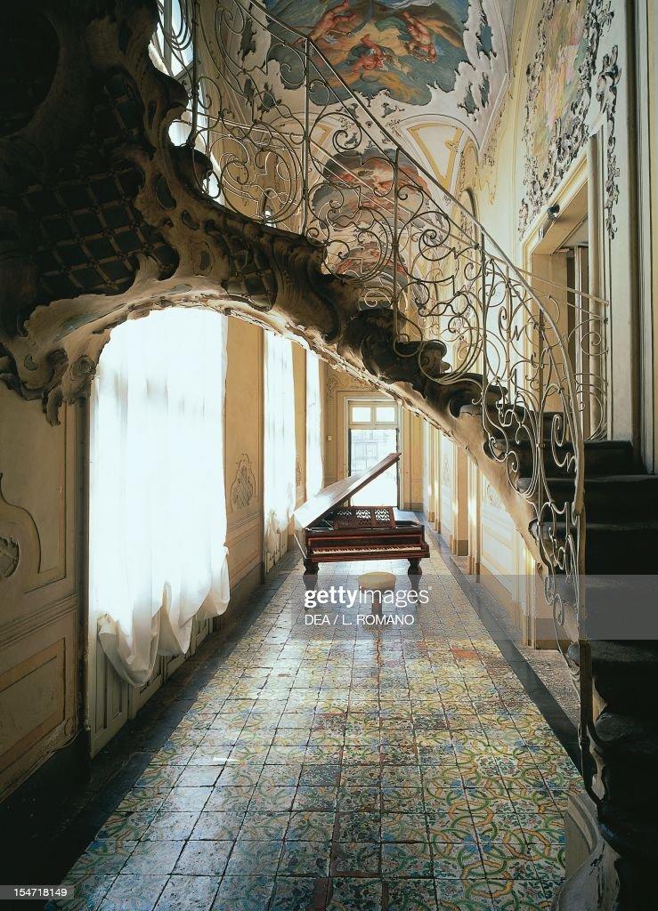 The Gallery's Rococo-style staircase, Palazzo Biscari, Catania (UNESCO World Heritage List, 2002), Sicily. Italy, 18th century.