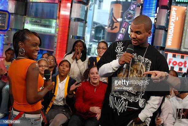 The Game and TRL audience member Shakira Williams who had 'The Game' tattooed on her arm during TRL taping