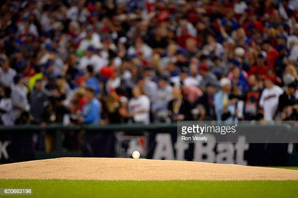 The game ball is seen on the mound before Game 7 of the 2016 World Series between the Chicago Cubs and the Cleveland Indians at Progressive Field on...