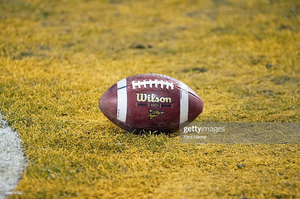 SAN DIEGO, CA - DECEMBER 27 - The game ball rests on the painted ground in the end zone during a stop in play during the first half of the game between the UCLA Bruins and the Baylor Bears in the Bridgepoint Education Holiday Bowl at Qualcomm Stadium on December 27, 2012 in San Diego, California.