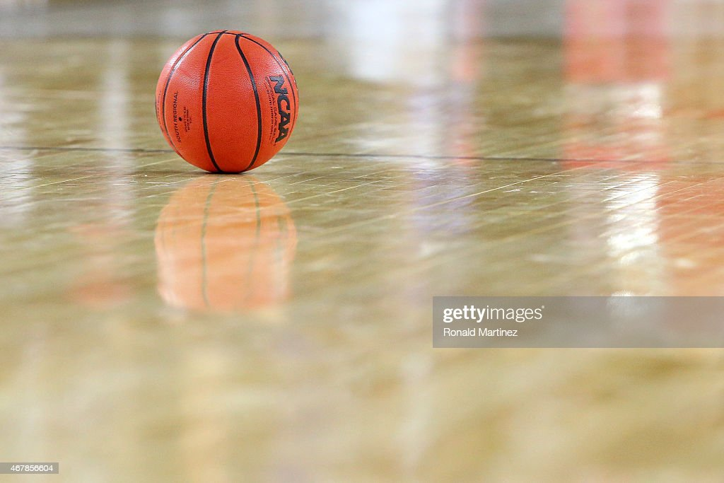 The game basketball is seen on the court during a South Regional Semifinal game of the 2015 NCAA Men's Basketball Tournament between the Duke Blue...