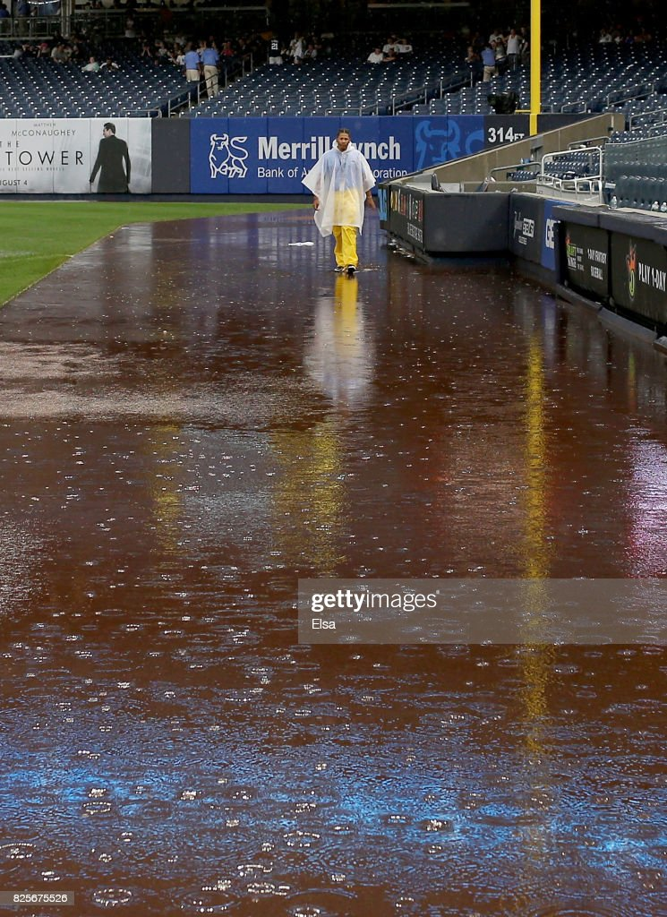 The game between the New York Yankees and the Detroit Tigers is in a rain delay at the top of the eighth inning on August 2, 2017 at Yankee Stadium in the Bronx borough of New York City.