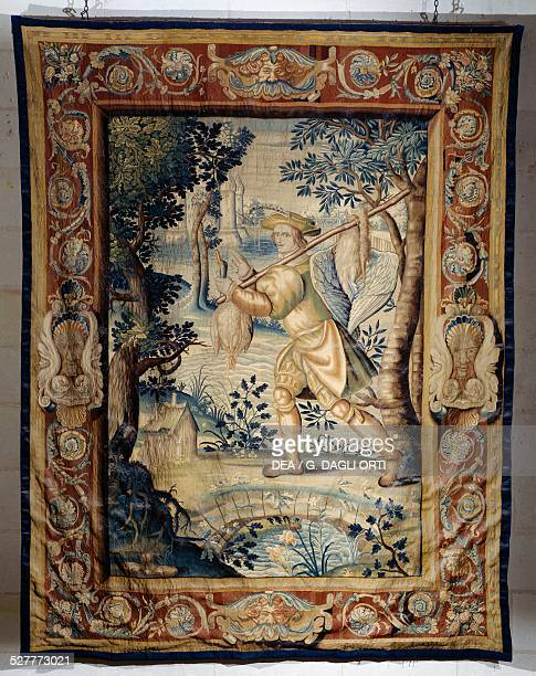 The game carrier tapestry from the series Hunts of Francis I 16201630 with cardboard backing by Laurent Guyot from the SaintMarcel factory in Paris...