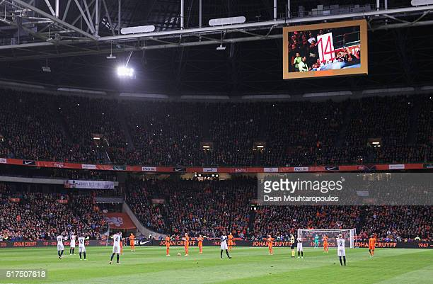 The game is stopped in the 14th minute for a minute's silence to remember Johan Cruyff of Netherlands during the International Friendly match between...