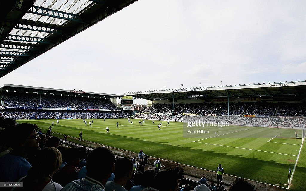 The game kicks off for Coventry City's final match at Highfield Road during the CocaCola Championship match between Coventry City and Derby County at...