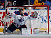 The game winning shot by Casey Cizikas of the New York Islanders eludes Viktor Fasth of the Edmonton Oilers at 1523 of the third period at the Nassau...