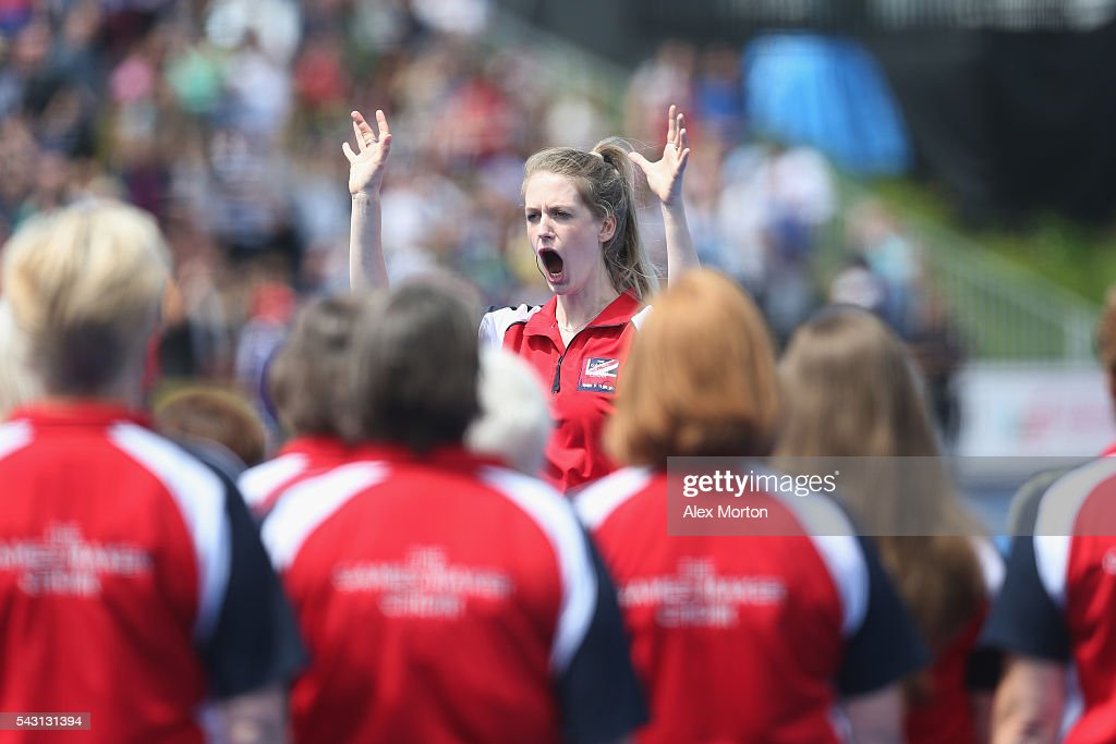 The Games Maker's choir sing the anthems prior to the FIH Women's Hockey Champions Trophy 2016 match between New Zealand and Great Britain at Queen Elizabeth Olympic Park on June 26, 2016 in London, England.