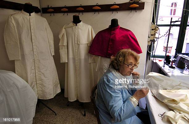 04_11_05_ROME ITALY The Gammarelli family has been making hand tailored clothing for the Popes of Rome since 1798 <cq> Their small shop at Via Santo...